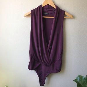 Sexy Deep V Plum Purple Bodysuit Small